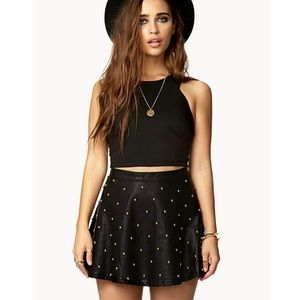 NWT Gold Studded Faux Leather Mini Skirt Smalll